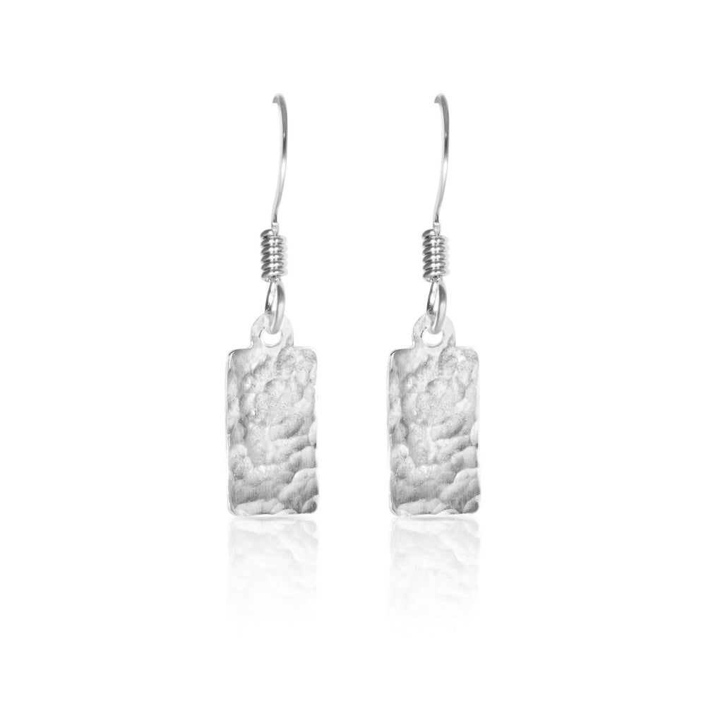 Silver textured rectangle earrings.