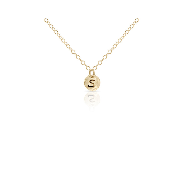Mini Gold Initial Disc Necklace