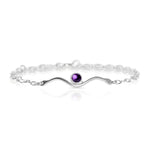 Wave Amethyst on Silver Bracelet