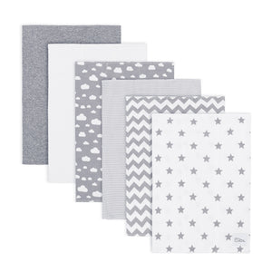 Grey Pattern Cotton Burp Cloths