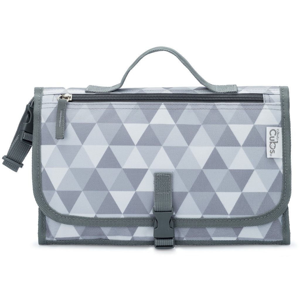 Portable Changing Pad Large Grey Triangle Pattern
