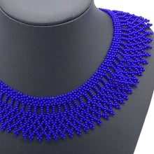 Load image into Gallery viewer, Cobalt blue beaded necklace