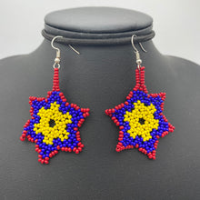 Load image into Gallery viewer, Hanging star burst beaded earrings