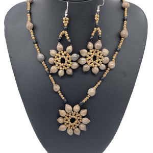 Woven sun star seed necklace and earrings set
