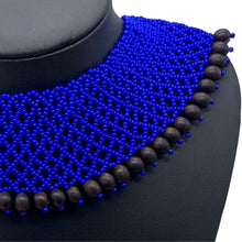 Load image into Gallery viewer, Blue with black seed power necklace