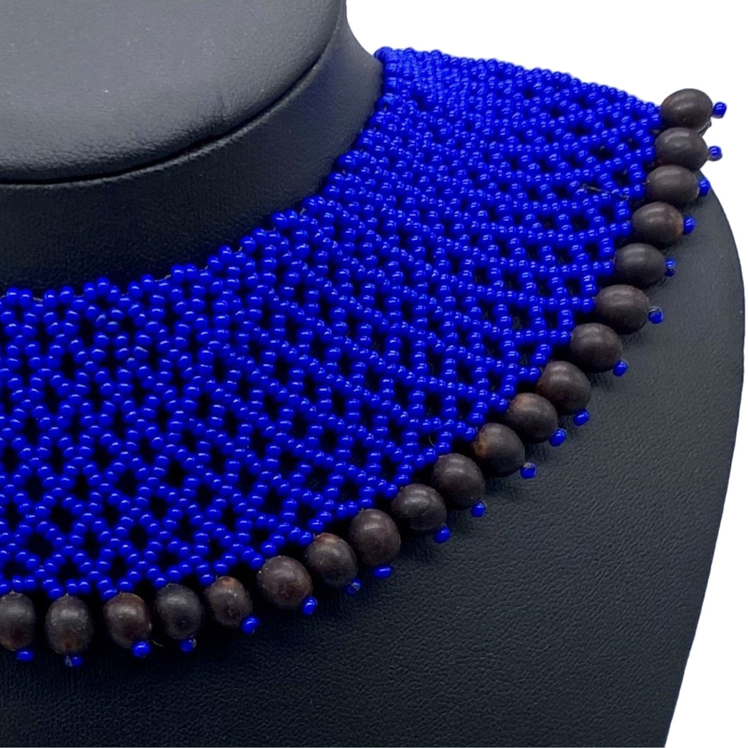 Blue with black seed power necklace