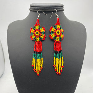 Long flower red, yellow and green earrings