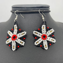 Load image into Gallery viewer, Hanging contrast flower earrings