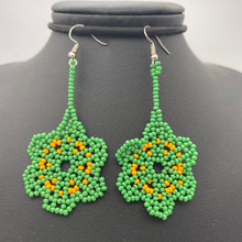 Load image into Gallery viewer, Dangle green and yellow flower earrings