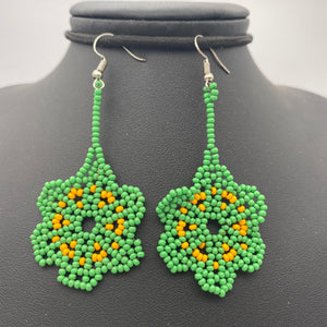 Dangle green and yellow flower earrings