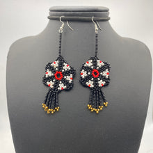 Load image into Gallery viewer, Hanging black, red and white medusa earrings