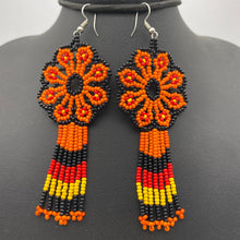 Cargar imagen en el visor de la galería, Orange, red and black hanging flower power earrings