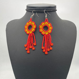 Red and orange medusa earrings
