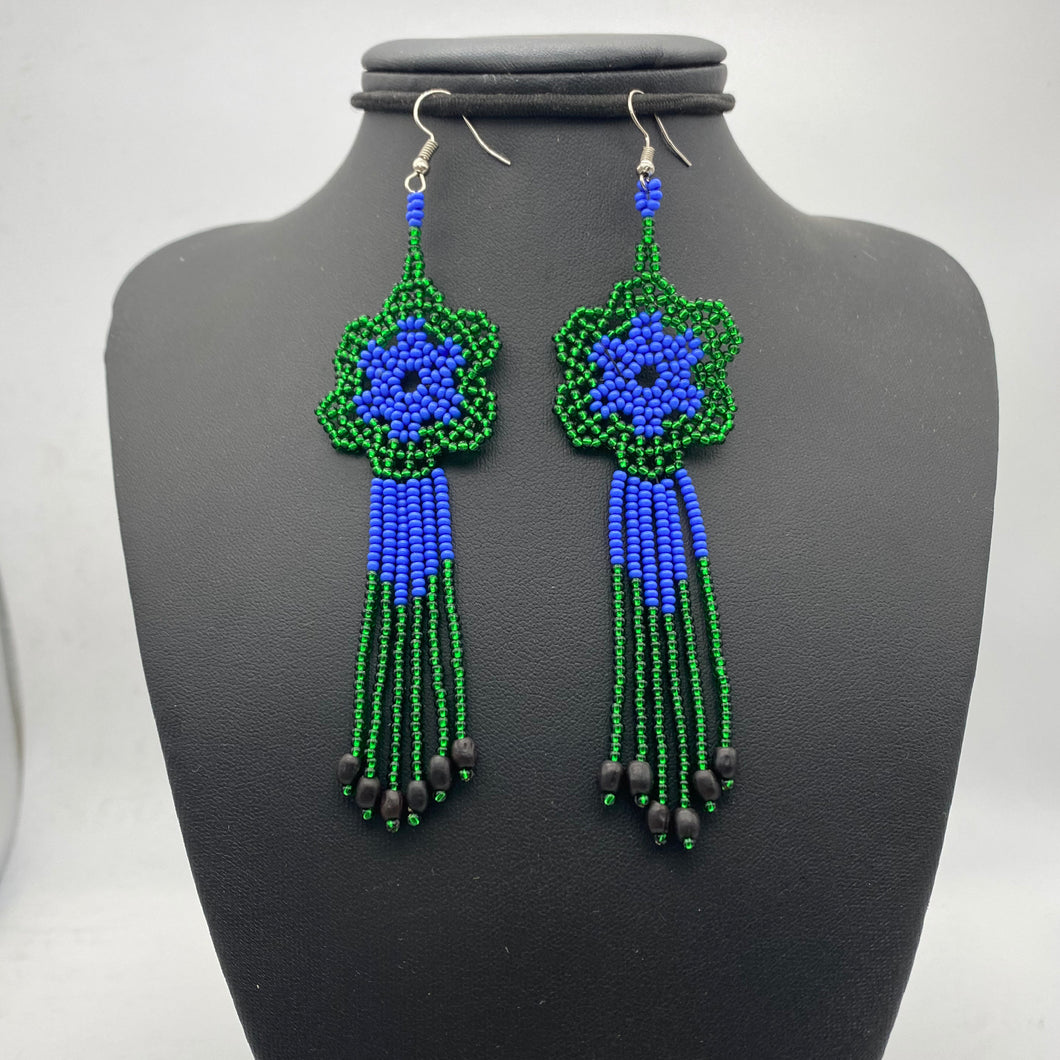 Large green blue flower Medusa earrings with seeds