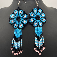 Load image into Gallery viewer, Blue and black flower power earrings