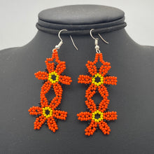 Load image into Gallery viewer, Dangle orange flower earrings