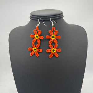 Dangle orange flower earrings