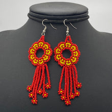Load image into Gallery viewer, Red and orange medusa earrings