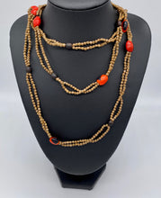 Load image into Gallery viewer, Taupe and fiery seed necklace with dangle seed earrings