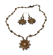 Load image into Gallery viewer, Woven sun star seed necklace and earrings set
