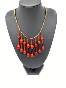 Earthy fiery seed necklace