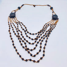 Load image into Gallery viewer, Layered black seed long necklace