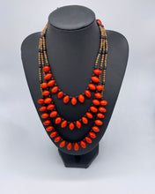 Load image into Gallery viewer, Three strand red seed necklace