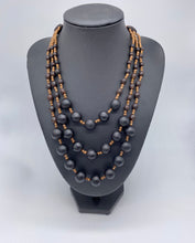 Load image into Gallery viewer, Triple layered black seed necklace