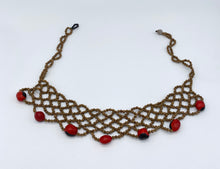 Load image into Gallery viewer, Braided seed necklace with accent red seeds