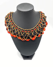 Load image into Gallery viewer, Elaborate red and black seed necklace