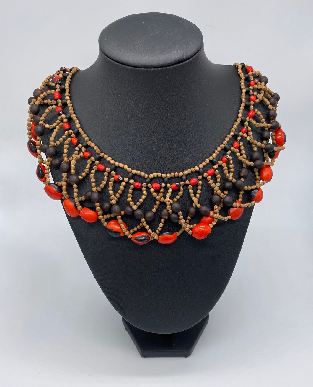 Elaborate red and black seed necklace
