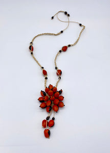Braided red and black seed necklace