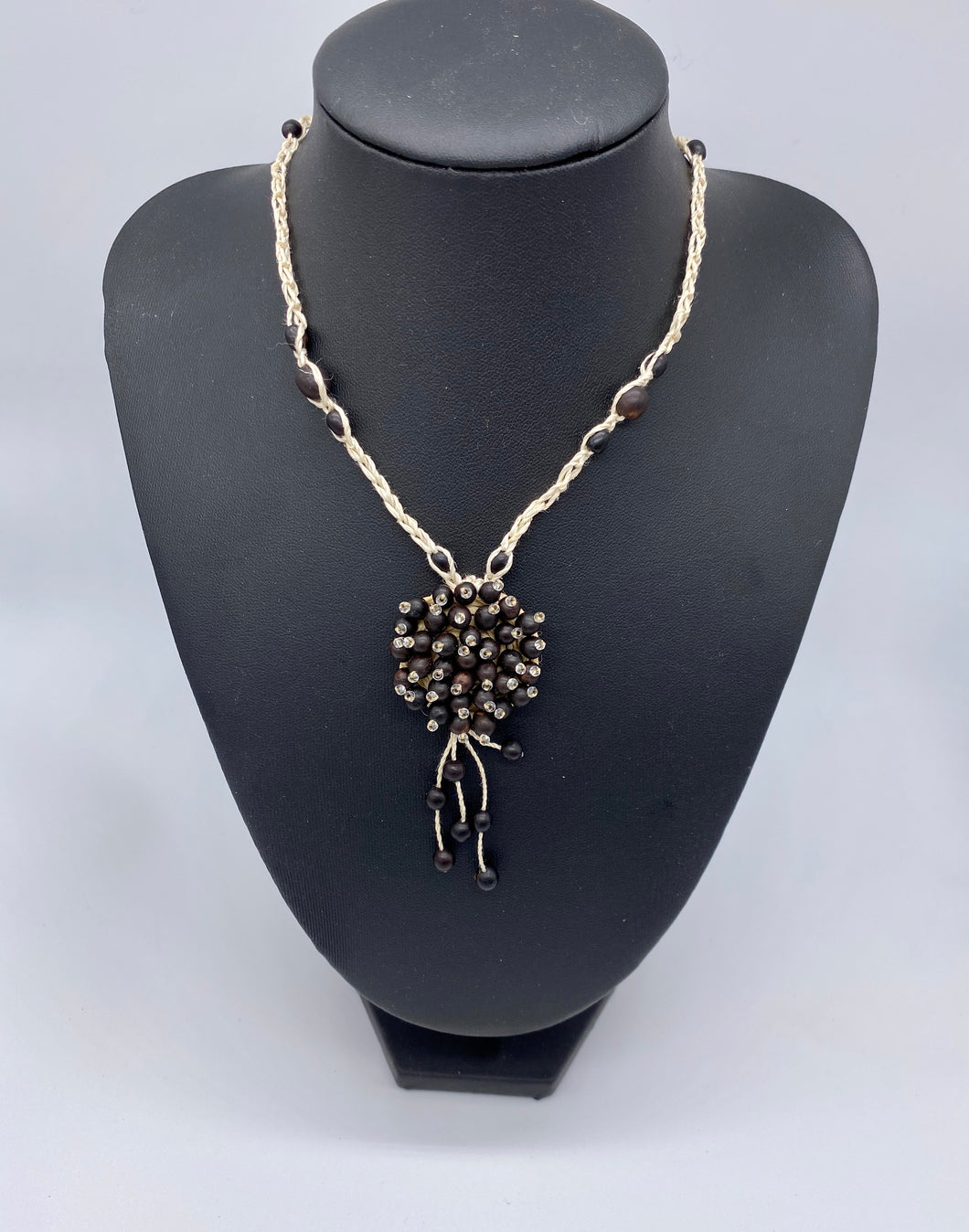 Braided black seed long necklace