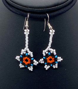 White small flower power earrings drop