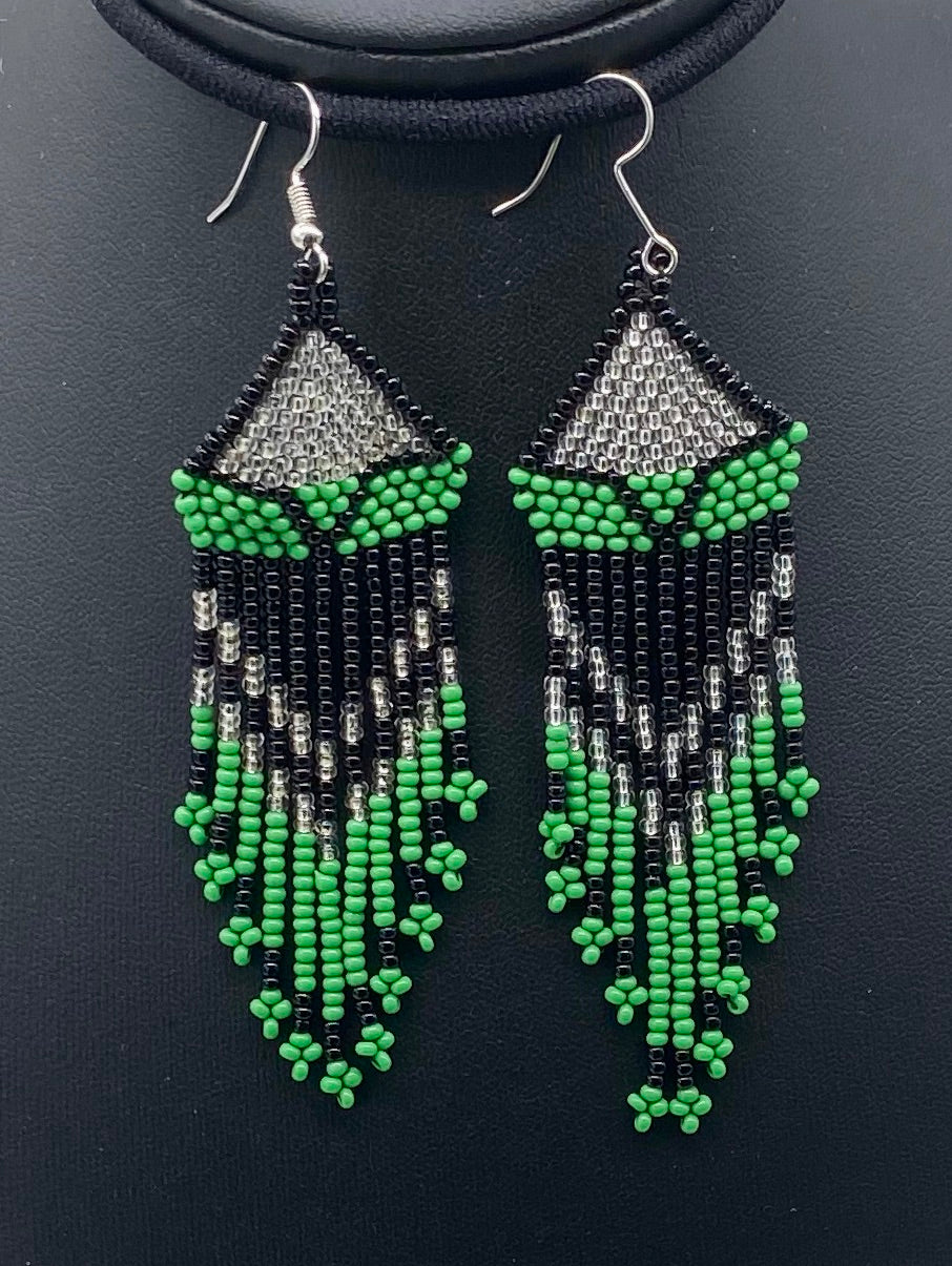 Green, black and white beaded dangle