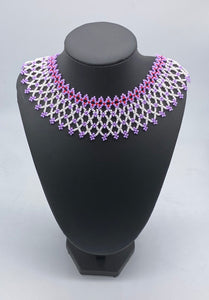 Lavender and white layered beaded necklace