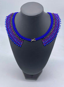 Blue and colored beaded necklace
