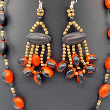 Load image into Gallery viewer, Red and black seed necklace with fiery dangle earrings