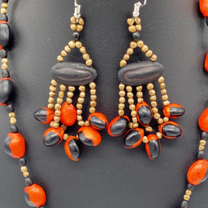 Red and black seed necklace with fiery dangle earrings