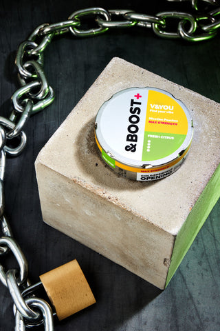 The new &Boost+ nicotine pouch - fresh citrus flavour