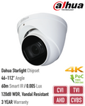 HAC-HDW2802TP-Z-A. DAHUA 8MP (4K) Analogue AHD/HD-TVI/HD-CVI/CVBS Turret Dome Camera, 60m Smart IR Night Vision, 3 Year Warranty. *Special Order Item*