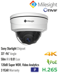 Milesight HD-IP 8MP Vandalproof Motorised Dome Camera<br><small>Model: MS-C8172-FPB</small>