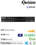 XN4P. XVISION 4 Channel IP PoE NVR, 3 Year Warranty.