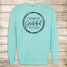 Load image into Gallery viewer, Thankful Grateful Blessed Comfort Color Sweatshirt