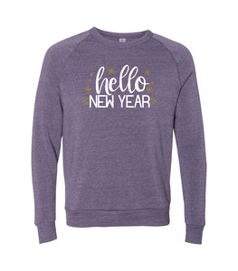 Metallic Gold Hello New Year Sweatshirt