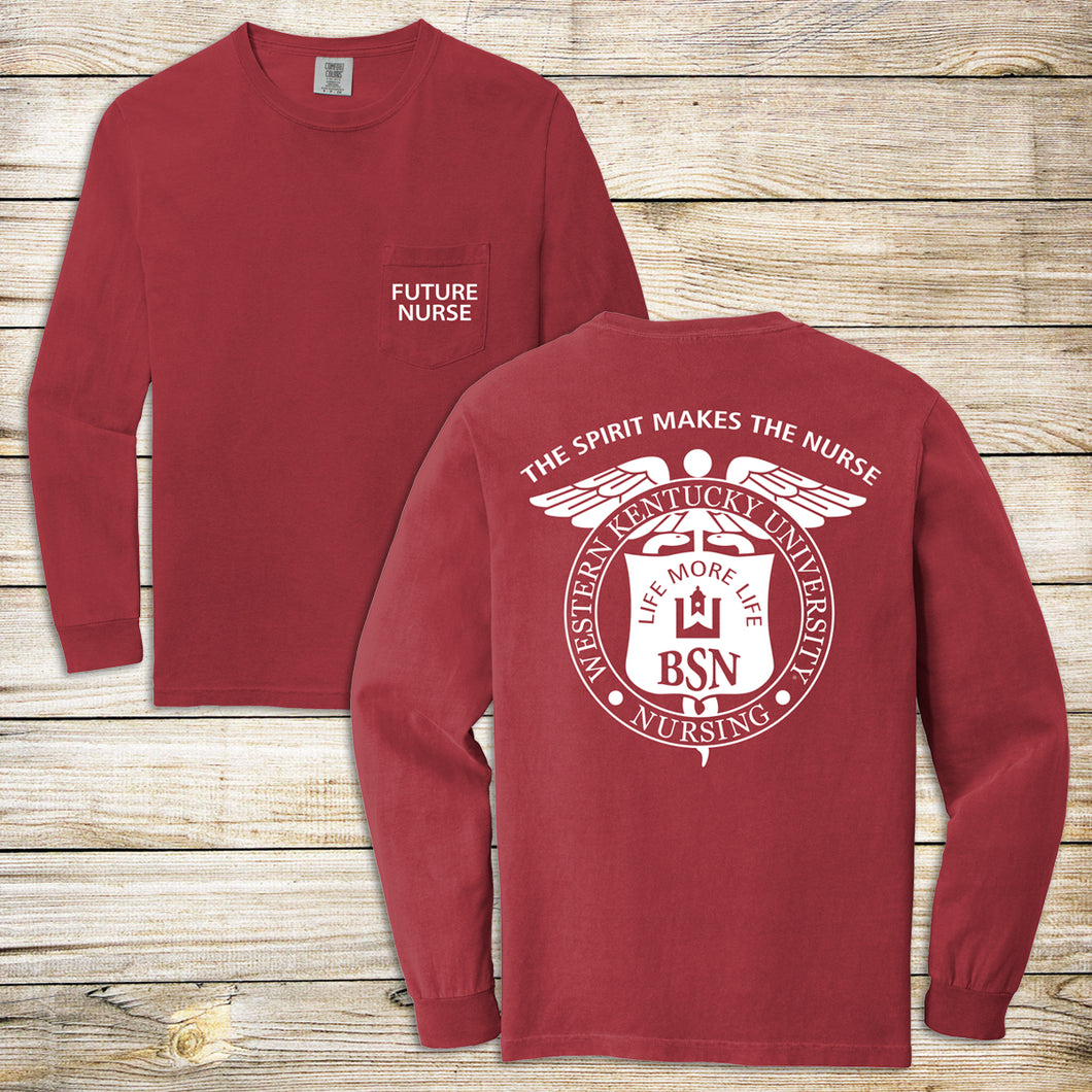 WKU Nursing Future Nurse Comfort Color Long Sleeve Pocket Tee
