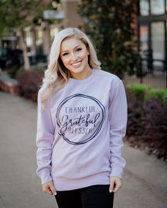 Thankful Grateful Blessed Comfort Color Sweatshirt