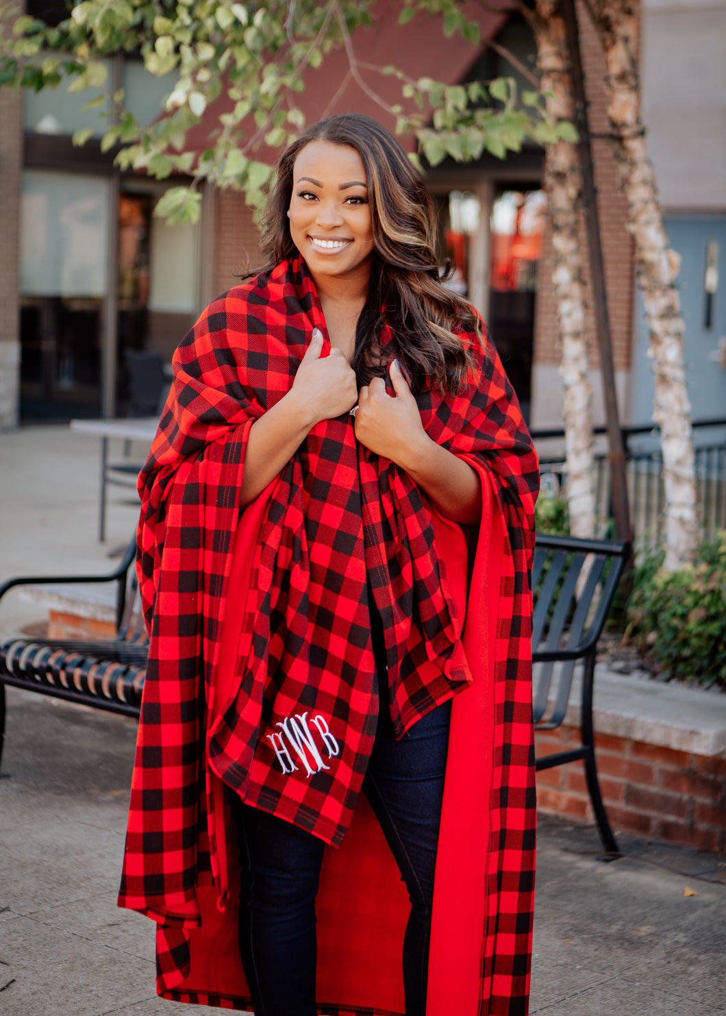 Monogrammed Blanket Plaid and Solid Colors