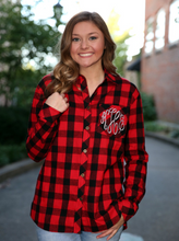 Load image into Gallery viewer, Monogrammed Ladies Flannel Button Down