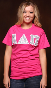Greek Stitched Letters Comfort Colors Tee